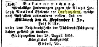 Achaffenburger Zeitung 1 September 1854: Aloys Joseph Neubeck.