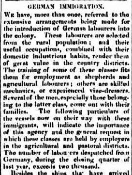 German Immigration 1855: The Empire, Sydney, 9 March 1855. http://nla.gov.au/nla.news-article60175726