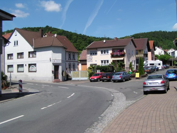 By my estimate, the house on the corner of this street in Dorfprozelten, was the home of Juliana Löhr and her sister.