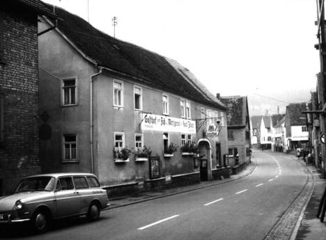 A postcard of the Happ/Kunkel inn called Das Goldene Fass. Compare it to the photo above taken from near the same spot.